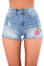 Средне-синие джинсовые шорты с вышивкой в виде розы