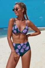 Lila Print Bralette Bikini mit hoher Taille
