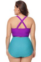 بنفش و آبی ناخن جزئیات لباس شنا بالا کمر