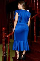 Vestido formal de talla grande con volantes y manga corta azul con volantes