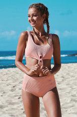 Rosa knut beskuren bikiniuppsättning
