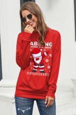 เสื้อสเวตเตอร์พิมพ์การ์ตูนน่าเกลียดคริสต์มาสสีแดง