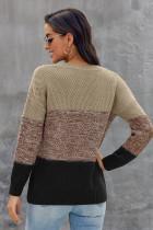 Khaki χρώμα μπλοκ καθαρό υφασμάτινο πουλόβερ πουλόβερ