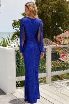 Blue Sequin Fringe Sleeve Party Maxi večerní šaty