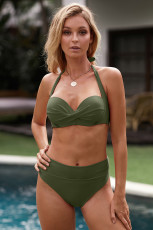 Ordu Yeşil Büzgülü Sütyen Halter Boyun Yüksek Bel Bikini