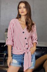 Chemise boutonnée à rayures rouges