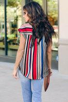 Mehrfarbige V-Ausschnitt-Streifen Roll-Up-Kurzarm-Bluse mit Reißverschluss