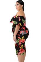 Платье большого размера с тропическим принтом