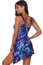 Blaues Blumen-Print-Badekleid