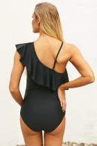 Black Ruffle Front One Shoulder Maternity Swimsuit