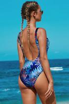 Niebieski tropikalny wzór z odkrytymi plecami Maillot