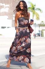 Lilla Bohemian Bandeau Floral Print Maxi Dress