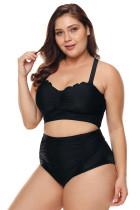 Черный купальник бикини с высокой талией большого размера