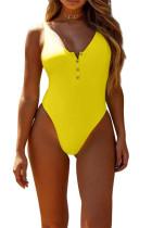黄色のスナップボタンフロント日光浴水着