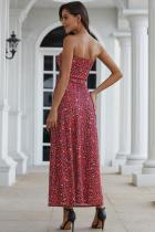 Maxi Dress Bohemian Bandeau Bunga Merah