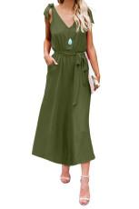 Vihreä Bowknot olkahihnat Jersey-mekko vyöllä
