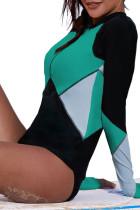 Grön Zip Up Neckline Color Block Rashguard Top