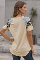 カーキストライプヒョウプリント半袖女性Tシャツ