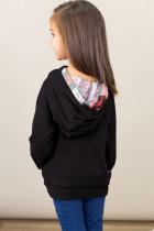 Sudadera negra con capucha doble para niños pequeños