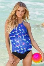 Blauer Tankini-Badeanzug mit Blütenblatt-Print