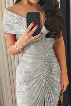 Grey Glitter Off Shoulder Ruched Slit Dress Party