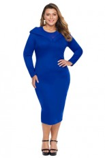 Blue Mesh Neck Patchwork Plus Midi šaty