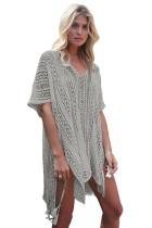 Gray Crochet Knitted Tassel Bikini Kimono Beachwear
