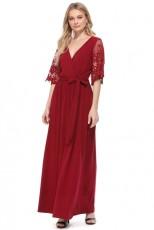 Rote Blumenspitze halbe Ärmel Wrap V-Ausschnitt Party langes Maxi-Kleid