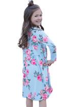 Blomster Lyseblå Swing Dress med skjulte lommer