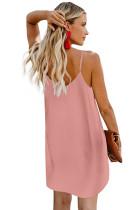 Vestido rosa com botões