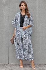 Valkoinen musta boheemityylinen solmio Kimono
