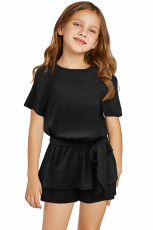 Black Keyhole Back Belt Peplum Girls Romper