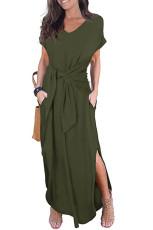 Grøn Casual Løs Pocket Short Sleeve Split Maxi Dress