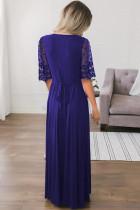 Tmavě modré květinové krajky poloviční rukáv zábal V krku strany dlouhé Maxi šaty