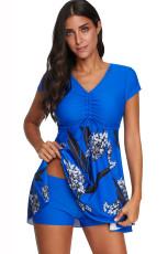 Blauer bedruckter Kurzarm-Badeanzug mit Boyshort