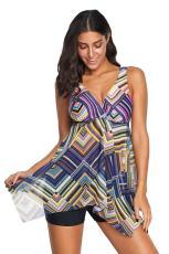 Zweiteiliger Tankini-Badeanzug mit mehrfarbigem geometrischem Muster