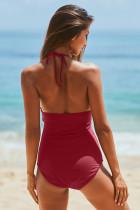 Czerwone stroje kąpielowe Monokini z wysokim dekoltem i marszczonym paskiem