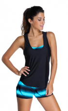 Blue Sports Bra Tankini Swimsuit with Blue Vest