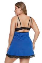 블루 플러스 사이즈 레이스 넥 라인 란제리 드레스 끈