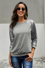 Grey Gotta Have It Sequin Knit Top