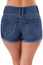 Синие джинсовые шорты с тройной пуговицей