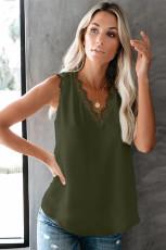 Zielona koszulka bez rękawów z dekoltem w szpic