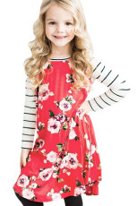 Merah Musim Semi Fling Floral Striped Sleeve Short Dress untuk Anak-Anak