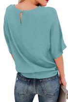 Yeşil Kısa Kollu Mürettebat Yaka Fiyonk Tişört