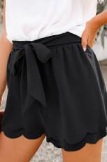 Svart scalloped Tie Front Shorts