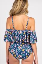 Blue Floral Ruffle Trim Ruched One-Piece Maternity Baddräkt