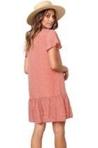 Gaun T-Shirt Pendek Polka Dot V Neck Kancing Ruffles Pendek