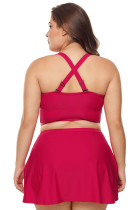 Red Wireless Plus Bikini Bottom and Swim Skirt Set