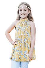Gula Lilla Flickor Blommor A-line Blus