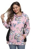 Zwart / roze sweatshirt met bloemenprint en patchwork in plus size